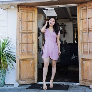 knit pink wrapped dress